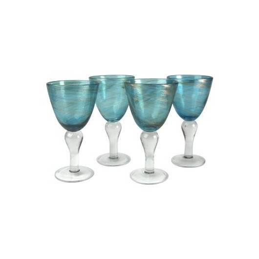 Artland Shimmer Goblets, 12-Ounce, Turquoise, Set of 4