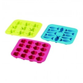 PLASTIS Ice cube tray, green/pink, turquoise