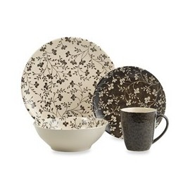 Sango Dinnerware, Fresh Flowers Black 16 Piece Set