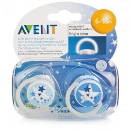 Avent Night Time Pacifier - 6 - 18 Months - 2 Pk