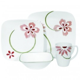 Corelle Pretty Pink Square 16-Piece Dinnerware Set, Service for 4 by Corelle,
