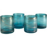 Artland Shimmer Double Old Fashioned Glass, 16-Ounce, Turquoise, Set of 4