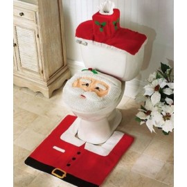 Christmas Happy Santa Fabric Toilet Seat Cover and Rug Bathroom Commode Set