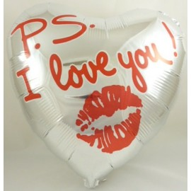 "18"" P.S I Love You Heart Shaped Foil Balloon- 24"