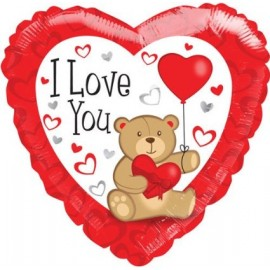 """Single Source Party Suppies - 18"""" I Love You Bear Withs Mylar Foil Balloon"""