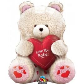"Love You Babe Teddy Valentine's Day 24"" Mylar Balloon"