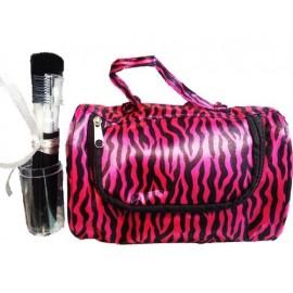 8 Piece Cosmetic Brush Set, Makeup Brush Gift Set, Cosmetic Bag Gift Set, (Hot Pink/black Zebra)