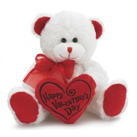 """Bear 8"""" Animal Plush- White with Red Message Pillow"""