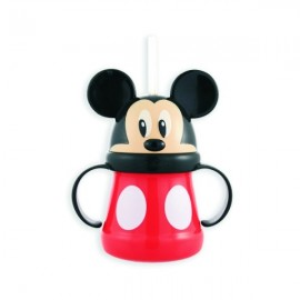 Mickey Mouse Head Cup with Handle and Straw - Mickey Mouse Kids Cup