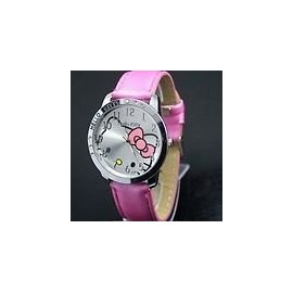 Hello Kitty Large Face Quartz Watch - Pink Band + Hello Kitty Pouch