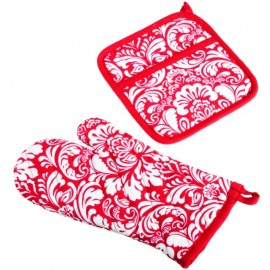 DII tango Red Printed Damask Oven Mitt and Potholder Set
