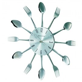 George Nelson Spoon Fork Clock, Silver