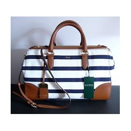 Lauren Ralph Lauren Beverley Double Zip Satchel Blue/WHite Stripe/NWT