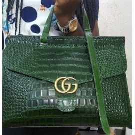 GG Marmont Leather Crocodile MatteTtop Handle Bag