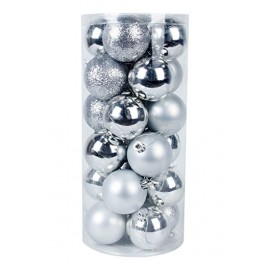 Christmas Ball  set of 24pcs Shatterproof Ornaments/Decorations Silver
