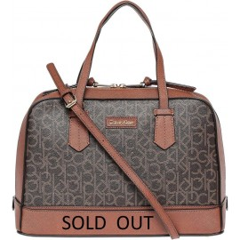 Calvin Klein  Hudson Monogram Satchel Bag for Women - Brown/Luggage