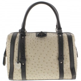 London Fog  Womens Ivory Textured Leather Doctors Handbag