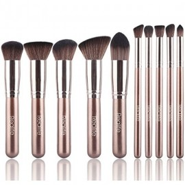 Kitdine Makeup Brushes,Premium Synthetic Kabuki Cosmetics Foundation Eyeliner Blush  (10 pcs, Coffee)